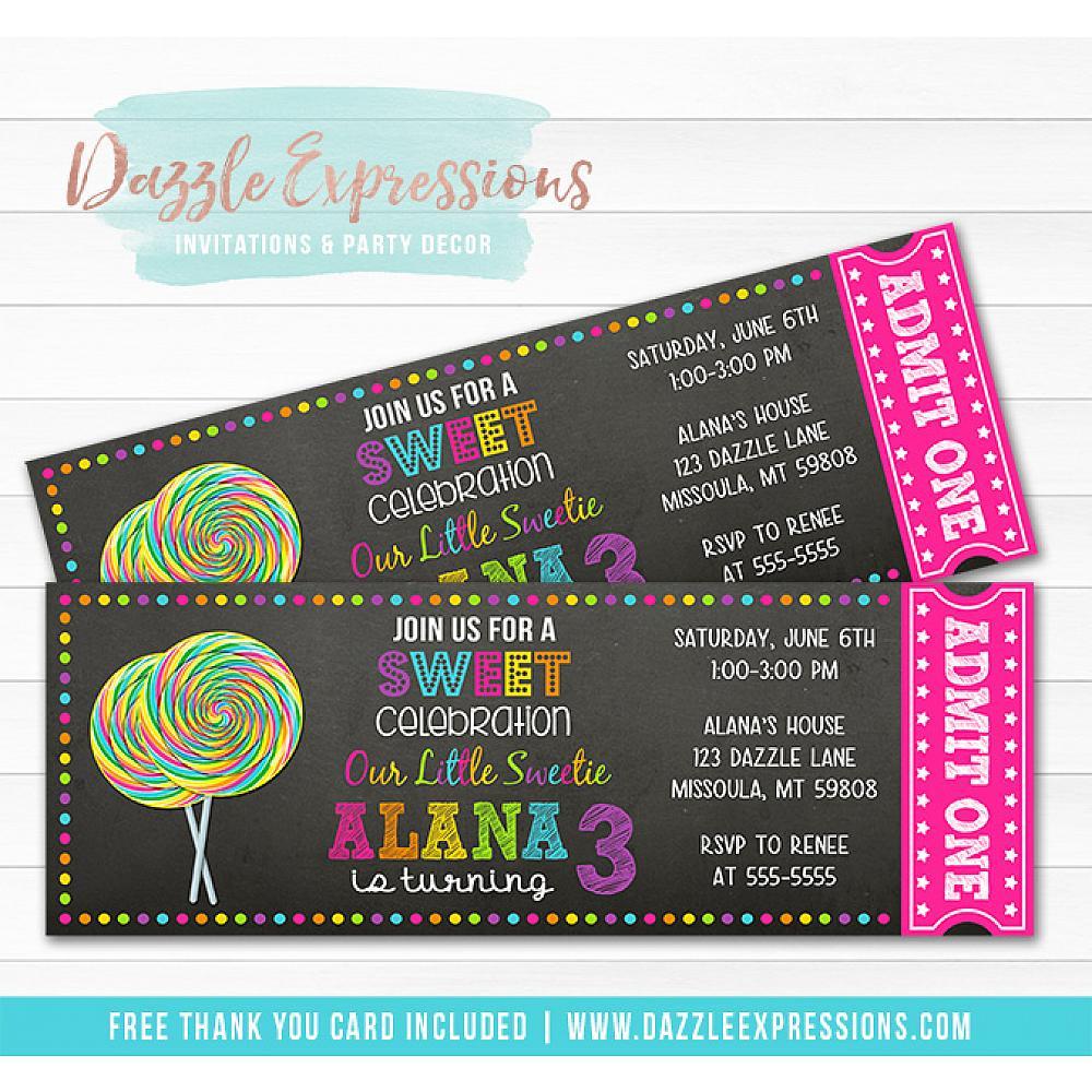 Printable Lollipop Chalkboard Ticket Birthday Invitation Candy