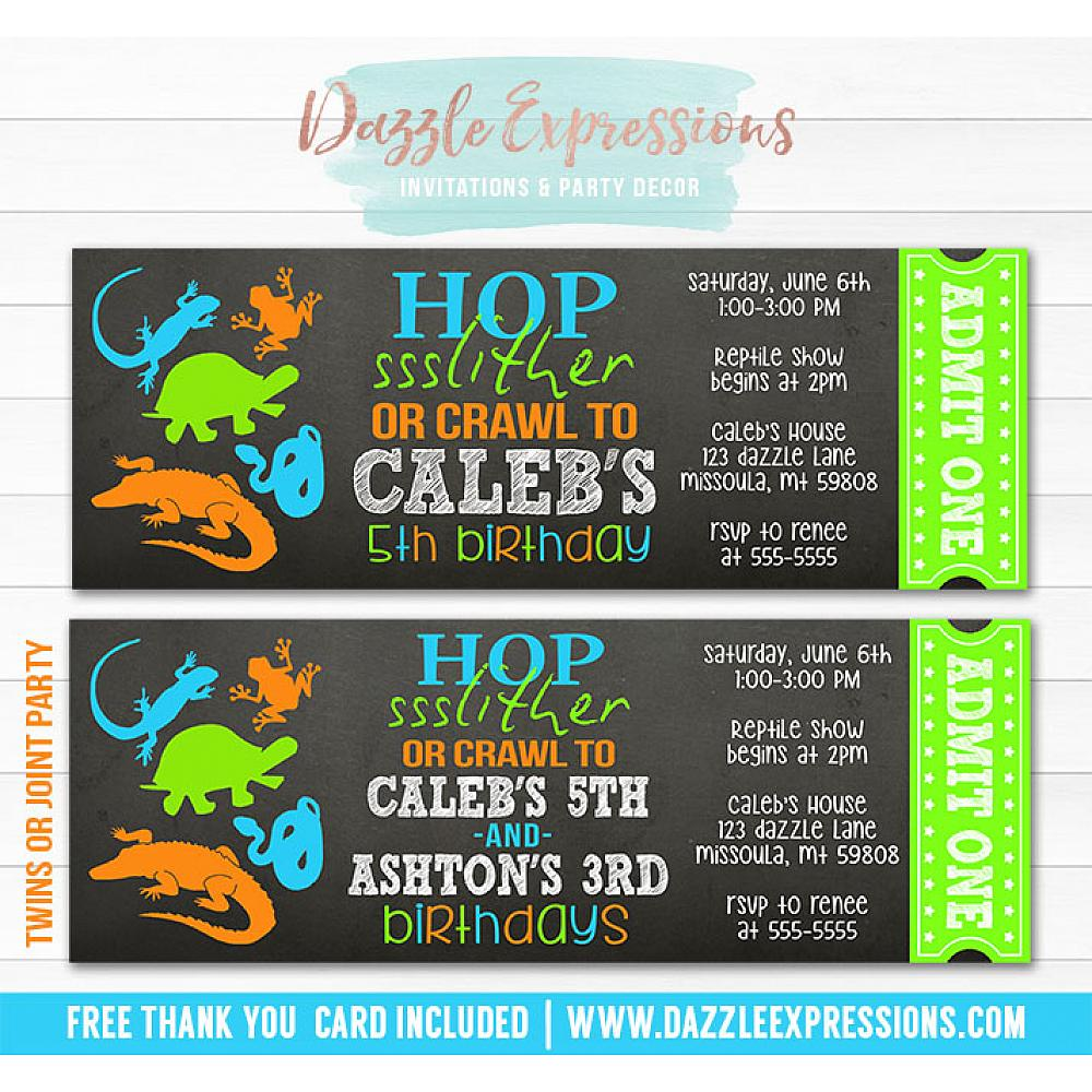 Printable Chalkboard Reptile Ticket Birthday Invitation Kids Reptile