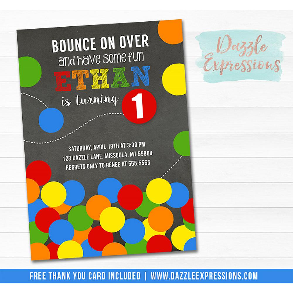 Bouncy Ball Chalkboard Birthday Invitation 2