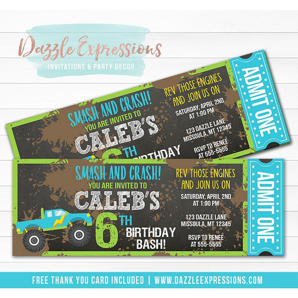 Printable Chalkboard Monster Truck Ticket Birthday Invitation