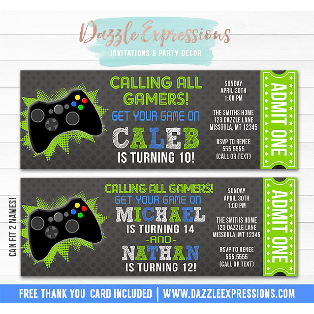 Video Game Chalkboard Ticket Invitation