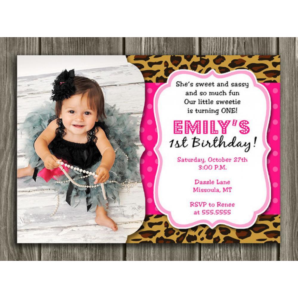 Printable Girl Leopard Print Birthday Photo Invitation
