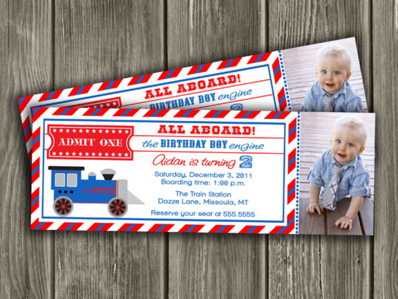 Printable Train Ticket Birthday Invitation - Boys Choo Choo Train