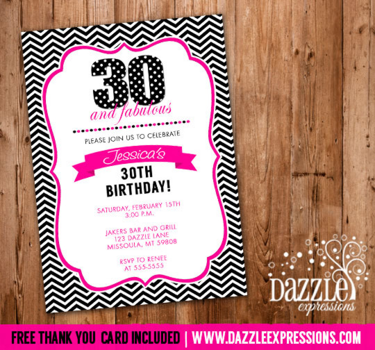 Pink and Black Chevron Birthday Invitation - FREE thank you card included