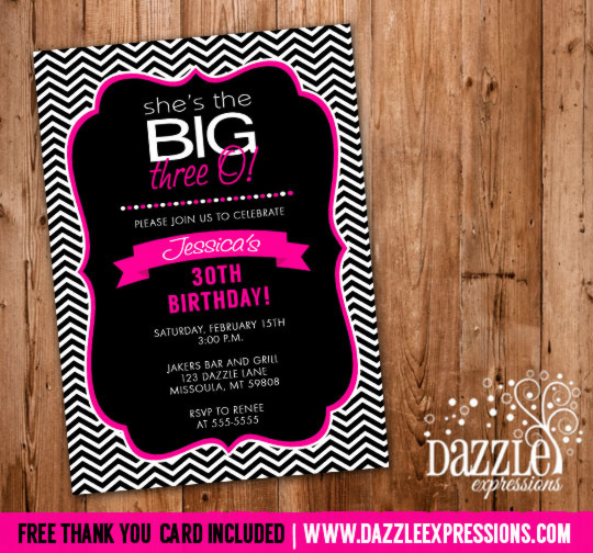 Pink and Black Chevron Birthday Invitation 2 - FREE thank You Card Included