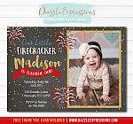 4th of July Chalkboard Invitation 2 - FREE Thank You Card Included