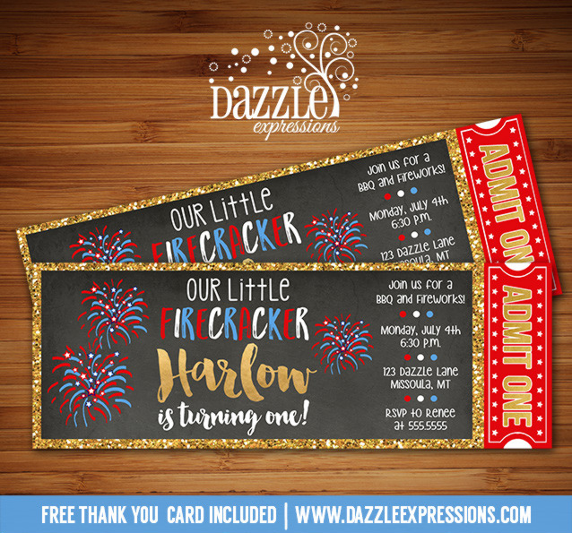 4th of July Ticket Invitation 1 - FREE thank you card included