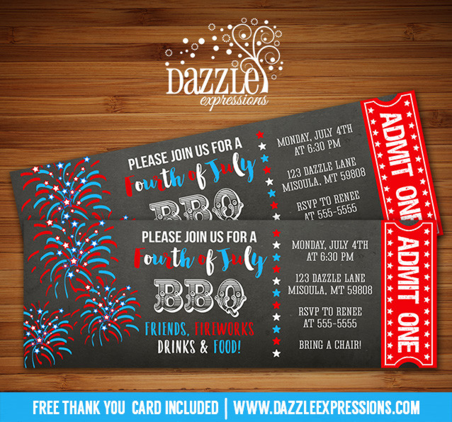 4th of July Ticket Invitation 3 - FREE thank you card included