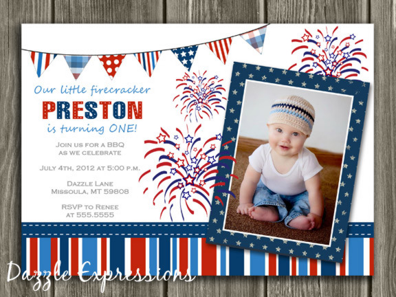 4th of July Birthday Invitation - FREE Thank You Card Included