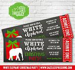White Elephant Party Chalkboard Ticket Invitation 2