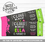 Rock Climbing Chalkboard Ticket Invitation 2 - FREE thank you card