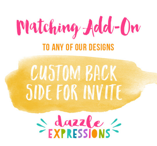 ADD ON - Custom Back of Invitation Design