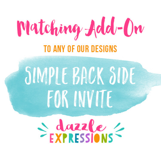ADD ON - Simple Back of Invitation Design