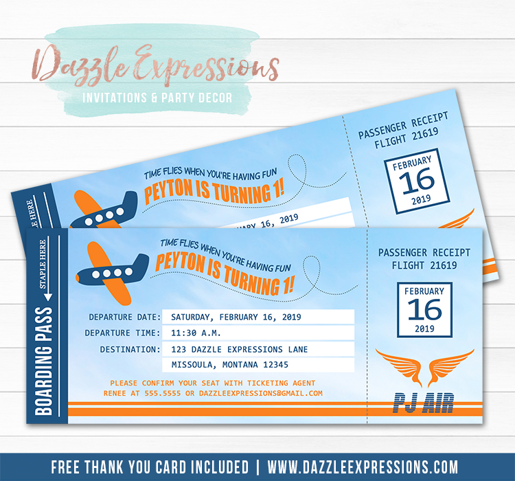 Airplane Boarding Pass Birthday Invitation - Thank You Card Included