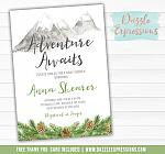 Adventure Awaits Baby Shower Invitation - FREE thank you card included