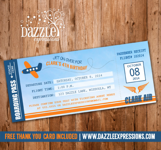 Airplane Boarding Pass Birthday Invitation   Thank You Card Included  Airplane Ticket Invitations