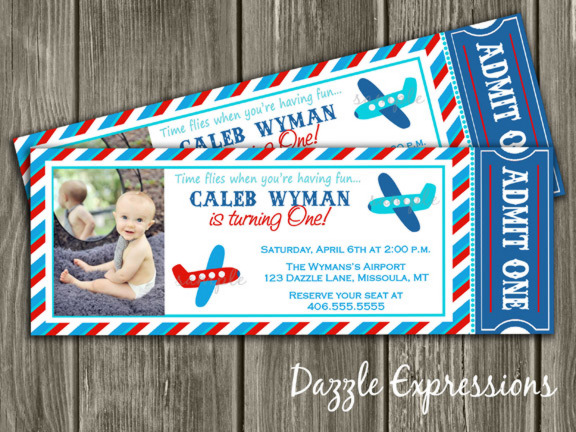 red  blue and aqua airplane ticket birthday party invitation