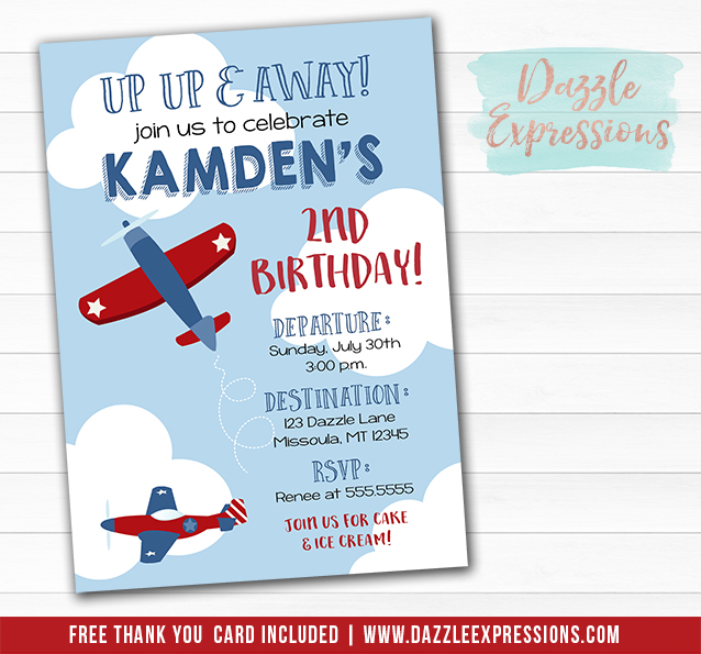 Airplane Birthday Invitation 1