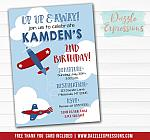 Airplane Birthday Invitation 1 - FREE thank you card included