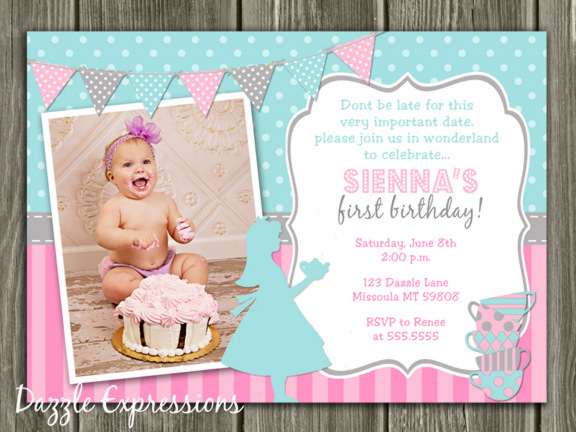 Girl Tea Party Birthday Invitation 1 - Thank You Card Included