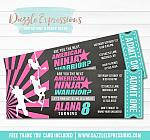 Ninja Warrior Inspired Chalkboard Ticket Invitation 2 - FREE thank you card included