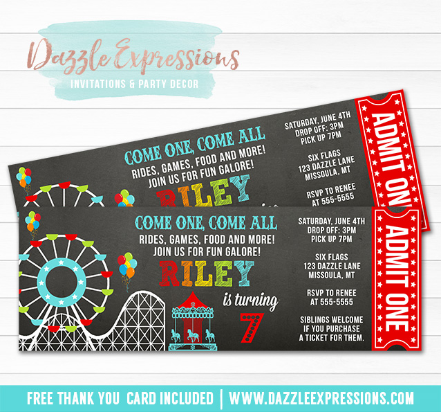 Amusement Park Chalkboard Ticket Invitation 1 - FREE thank you card