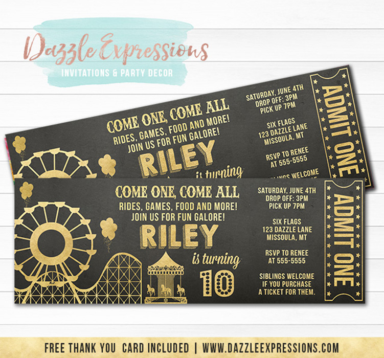 Amusement Park Chalkboard Ticket Invitation 2 - FREE thank you card