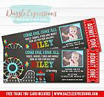 Amusement Park Chalkboard Ticket Invitation 3 - FREE thank you card