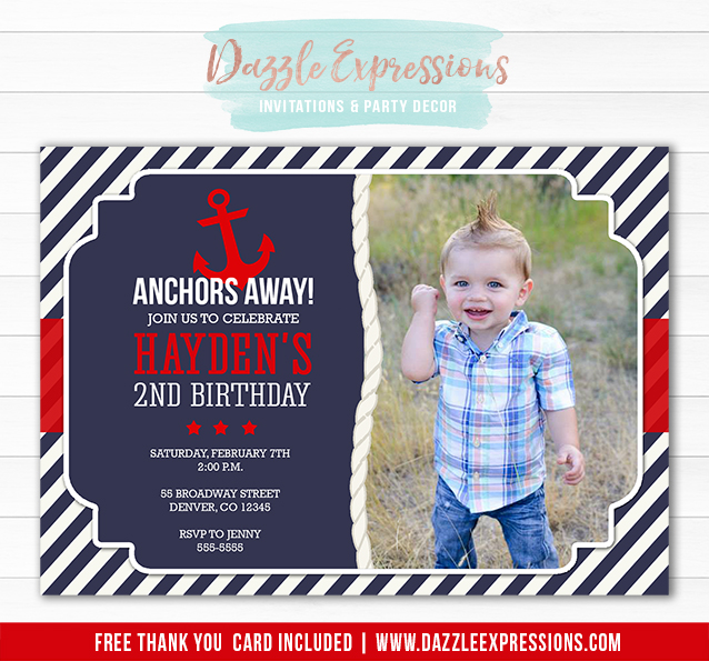 Printable Nautical Anchor Birthday Invitation