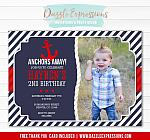 Anchor Birthday Invitation - FREE thank you card