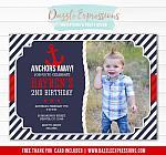 Anchor Birthday Invitation - FREE thank you card