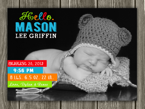 Birth Announcement Style #11 - Printable