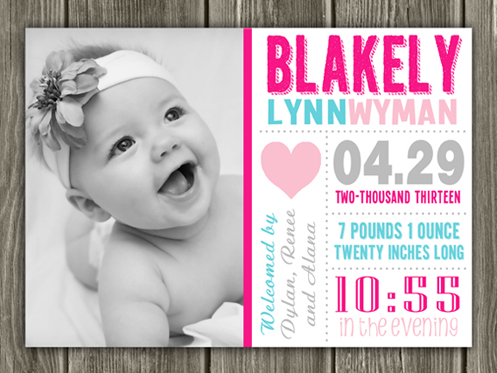 Birth Announcement Style #14 - Printable