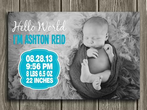 Birth Announcement Style #3 - Printable