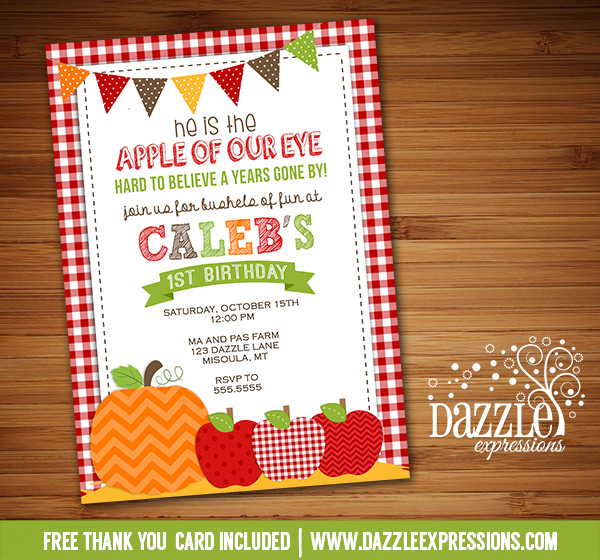 Apple of Our Eye Birthday Invitation - FREE thank you card
