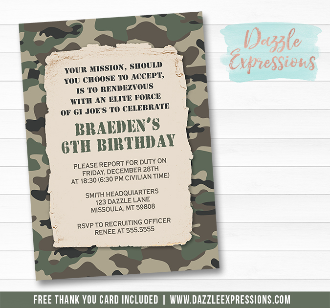 Printable camouflage army birthday invitation camp gi joe boy camouflage army birthday invitation free thank you card included filmwisefo