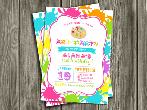 printable modern art party birthday invitation paint splatter