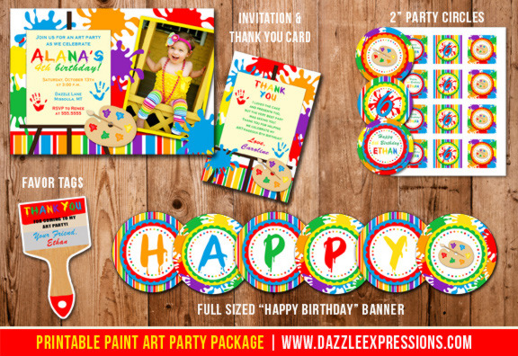 Paint and Art Party Complete Birthday Party Package