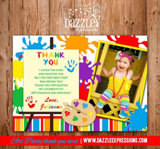 Art Party Painting Thank You Card - Printable