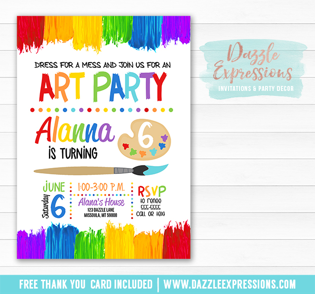 photograph about Free Printable Paint Party Invitations identify Printable Portray Artwork Social gathering Birthday Invitation - Young children Artwork or Paint Celebration - Totally free thank yourself card provided