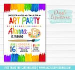 Painting Art Party Invitation 1 - FREE thank you card