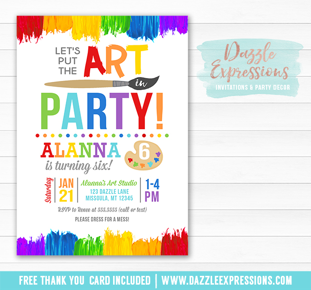 printable painting art party birthday invitation kids art or paint