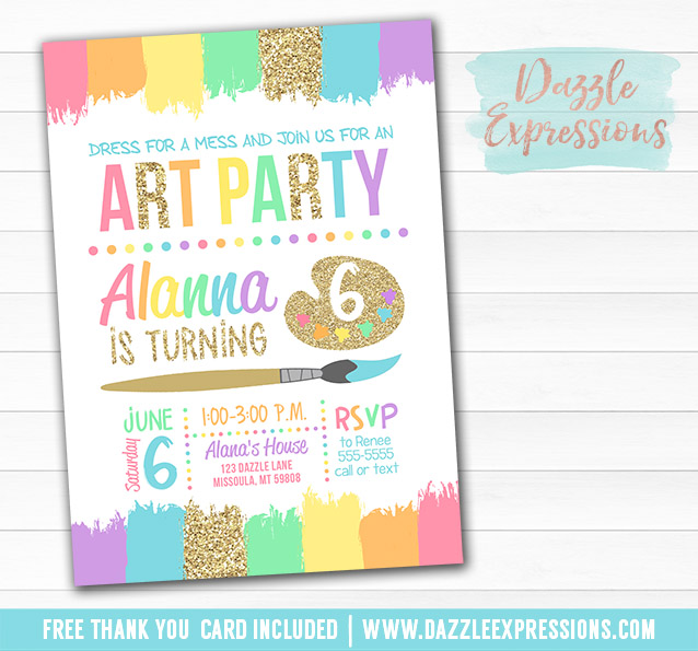 image relating to Free Printable Paint Party Invitations known as Printable Gals Glitter Portray Artwork Celebration Birthday Invitation - Rainbow Children Artwork or Paint Get together - No cost thank yourself card