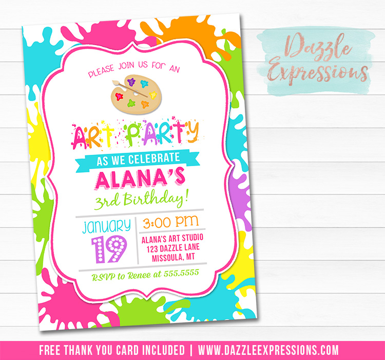 Art or Paint Party Birthday Invitation 1 - Thank You Card Included