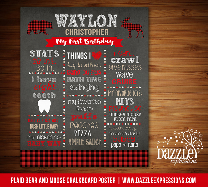 Printable Plaid Woodland Chalkboard Poster
