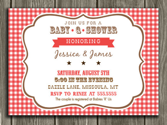 Printable Baby Q Baby Shower Invitation Barbeque BBQ Picnic
