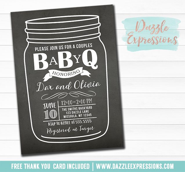 BabyQ Chalkboard Baby Shower Invitation - FREE thank you card