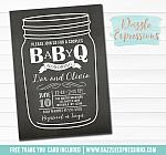 Baby Q Chalkboard Baby Shower Invitation - FREE thank you card
