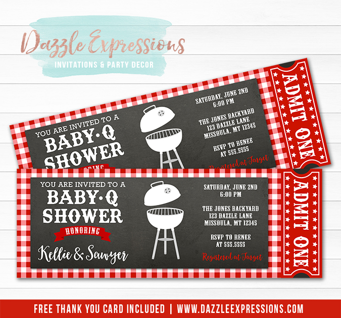 printable baby q shower ticket invitation summer cookout couples