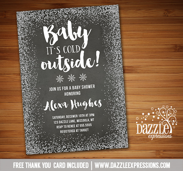 Baby Its Cold Outside Baby Shower Invitation 1 - FREE thank you card